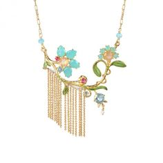 Blue daisy and lily of the valley necklace