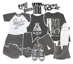 """""""The Emo Trinity"""" by zombielover100 ❤ liked on Polyvore featuring Levi's, American Eagle Outfitters, Converse and Dr. Martens"""