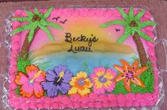 Luau Cake This is the first time I tried the Wilton Color Mist. Luau Party Cakes, Beach Themed Cakes, Luau Theme Party, Aloha Party, Beach Cakes, Hawaiian Birthday Cakes, Birthday Sheet Cakes, Birthday Cake Girls, Hawaiian Theme