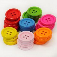 DIY Wooden Charm Pendant Wood Beads 20mm 50pcs Big Button Accessories