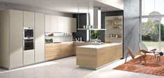 Two tone kitchen cabinets are trending right now. The kitchen is undeniably an important part in a house. Since we often spend our time in the kitchen, it is important to make it as comfortable and appealing as possible. Classic Kitchen, Stylish Kitchen, New Kitchen, Kitchen Decor, Orange Kitchen, Kitchen Modern, Kitchen Layout, Kitchen Storage, Life Kitchen