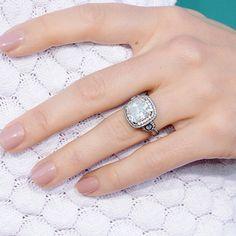 Jessica Biel's rounded square-cut diamond