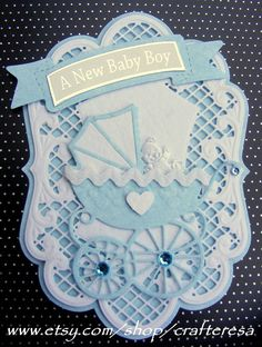 luxury, card topper, new baby, congratulations, scrapbookiing, elegant frame, die cut pram, white, pink blue. £3.25, via Etsy.