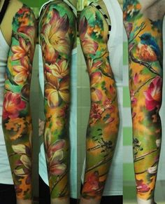 full sleeve gorgeous watercolor tattoo