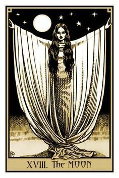 #tarot #moon I think the image is more representative of the moon's purest aspect, that is Atu II, the High Priestess. #tarotcardsart
