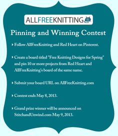 Pin with us and get a chance to win a 100 dollar prize pack of yarn and other goodies from Red Heart.