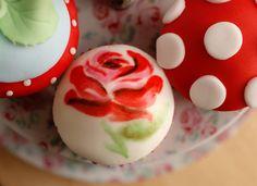 cupcake, cute, desserts, flower, food, kawaii, red, rose, sweets ...