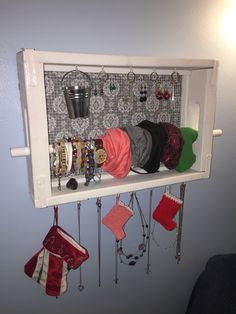 Jewelry organizer made from an old Coca-Cola crate