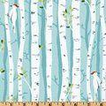Michael Miller Backyard Baby Birch Forest Aqua Fabric By The Yard