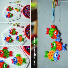 diy-poisson-davril-perles-hama-creamalice Crazy Loom, Hama Beads Patterns, Beading Patterns, Fuse Beads, Perler Beads, Bead Kits, Loom Beading, Bead Crafts, Crafts For Kids