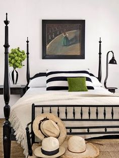 Four Poster Bed - Bedroom Design Ideas - Country Living Bedroom Black, Bedroom Green, Bedroom Colors, Master Bedroom, Bedroom Neutral, Bedroom Simple, Black And Cream Bedroom, Black Beds, Trendy Bedroom
