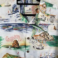 Catalina Island Avalon Post Mark Fishing Kahala Mens XL Hawaiian Shirt
