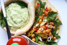 Buffalo Chickpea Soft Tacos with Avocado Sour Cream #vegan