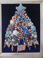 Vintage RHINESTONE Jewelry Framed CHRISTMAS TREE  *JULY 4th*PATRIOTIC**USA*TEXAS