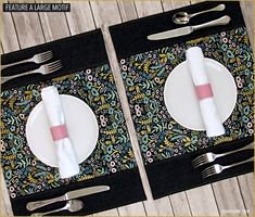 Panel Place Mats with Large Motif Fabric | Sew4Home