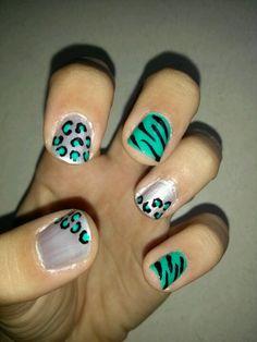 Cheetah zebra nail art