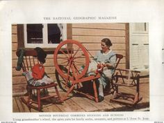 Woman At Spinning Wheel And Children In Sunday Clothes From Saguenay. /Druck, Entnommen Aus Zeitschrift/1939 - Bücher, Zeitschriften, Comics