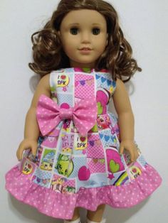 This beautiful doll dress is handmade. Sleeveless dress, bodice fully lined for a nice finish around the neck and arms, seams are serged to prevent fraying, Velcro back for easy dressing. Due to the nature of the fabric print, position on the dress may be different. This dress fits American Girls dolls or similar size Made from a smoke free/pet free home. Feel free to message me for any questions you may have! Our Shop is not affiliated with American Girl® or any doll manufacturer