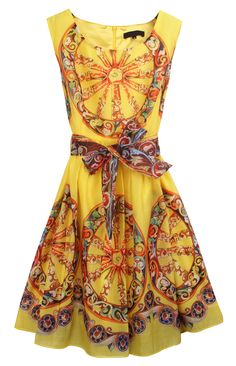 Yellow Sleeveless Wheel Print Belt Back Zipper Dress