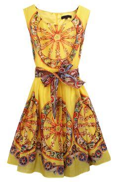 Yellow Wheel Print Dress wheel print, fashion, yellow sleeveless, cloth, style, dresses, zipper, closet, belts