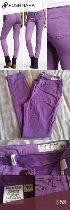 "rag & bone violet legging jean Measure 15.5"" across at waist and have a 29"" inseam. Soft stretchy material. 60% cotton/35% modal/5% polyurethane. Size 30, but run a little small. See measurements. *no trades please* rag & bone Jeans Skinny"