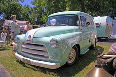 1955 Dodge panel truck with matching camper trailer Old Dodge Trucks, Dodge Pickup, Old Pickup, Vintage Rv, Vintage Trucks, Panel Truck, Camper Trailers, Campers, Custom Trucks