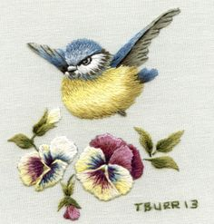 Blue tit & Pansies free embroidery pattern Trish Burr, needle painting embroidery