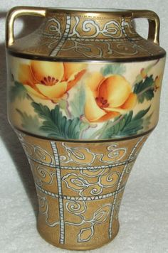 Antique Odd Shaped Nippon Moriage Hand Painted Yellow Flowers Gold Swirl Vase | eBay