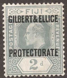 "Gilbert & Ellice Islands 1911 Scott 3 gray ""Gilbert & Ellice Protectorate"" Stamps of Fiji overprinted Vanuatu, Ellice Islands, Gilbert Islands, King Edward Vii, Island Nations, Solomon Islands, Vintage Stamps, January 1, Commonwealth"
