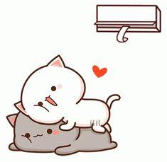 Cute Couple Cartoon, Cute Cartoon Pictures, Cute Love Pictures, Cute Bear Drawings, Cute Animal Drawings Kawaii, Chibi Cat, Cute Chibi, Cute Love Gif, Cute Cat Gif
