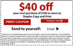 Staples Copy and Print Canada Coupons: Save $40 Off Your Purchase of $100 http://www.lavahotdeals.com/ca/cheap/staples-copy-print-canada-coupons-save-40-purchase/122340
