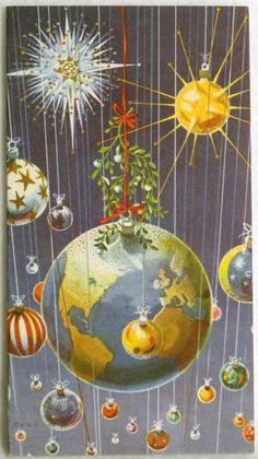 435 60s Mid Century Modern Planets Sputnik Vintage Christmas Greeting Card | eBay