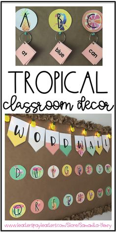 If you're thinking about a tropical theme in your classroom, check out this gorgeous Tropical Decor Set. It's also editable!