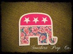 "Preppy Republican Bumper Diecut Sticker 3.5""x4"" Option TWO"