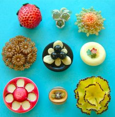 9 Vintage Fruit & Flowers Dimensional Celluloid Buttons, Including a Weeber