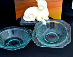 Vintage Depression Glass Bowls Etched Green Glass