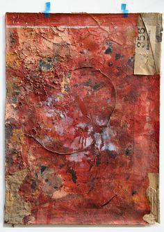technique mixte |  collage ROUGE  • Waldemar Strempler •