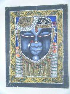 Original Vintage Water Color Hand Painting Hindu God Shrinathji Krishna #2112