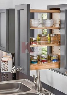 "In Stock | W09PO Wall Pull-Out Organizer | Two adjustable shelves with chrome rails | Fits 9"" W Cabinets 