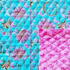 Double Face Quilt Fabric- Pink & Blue Striped