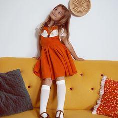 Lady Stump z Pakamera. Suspender Skirt, Diy Design, Suspenders, Cotton Dresses, Lady, Orange Color, Dress Skirt, Designer, Fox