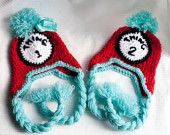 Thing 1 and Thing 2 hats