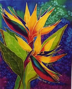 My painting of strelitzia with a vibrant blue b/g.