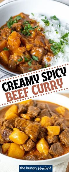 This curry dish is Thai-inspired and super easy to create at home. Curry paste, coconut cream, beef, and potatoes are combined for a rich texture. It's flavorful without being too spicy and pairs perfectly with rice. Beef Massaman Curry, Beef Curry, Dinner Recipes Easy Quick, Beef Recipes For Dinner, Curry Recipes, Asian Recipes, Chili Recipes, Chicken Curry Salad, Food Dishes