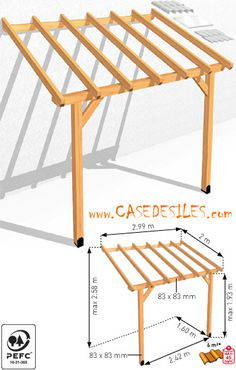 Auvent de terrasse bois adossant 6mc ABS3020 Pas Cher Plus