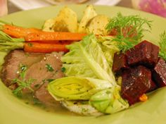 Classic Braised Corned Beef and Cabbage with Roasted Root Vegetables, Leeks and Cranberry Horseradish Sauce