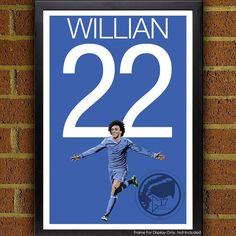 Willian 22 Poster  Chelsea FC  Brazil Soccer Poster by Graphics17