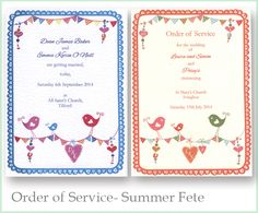Summer Fete Order of Service books that are part of our range of wedding stationery www.wearetickledpink.co.uk