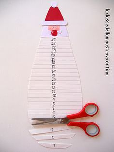 Santa's Beard Countdown to Christmas Calendar. Perfect for kids to work on fine motor cutting skills.