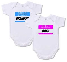 396423e23 Twin Onesies - Set of 2 Name Tag Onesies for Twins Boys or Twin Girls by